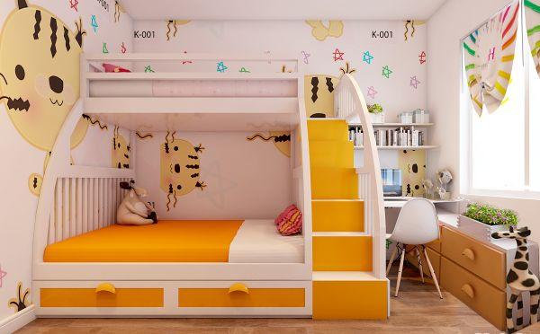 phòng ngủ giường tầng cho bé trai và bé gái