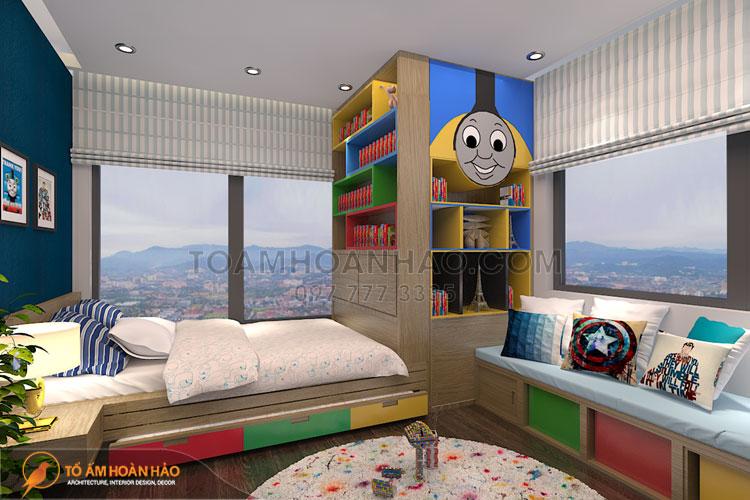 Thiết kế nội thất phòng bé trai 1 giường ngủ