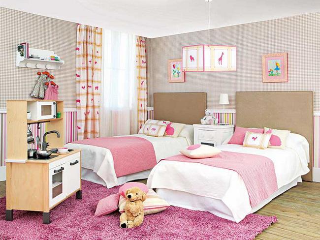 Nội thất phòng ngủ 2 giường cho bé gái