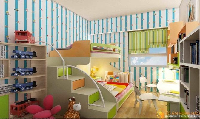 Thiết kế nội thất phòng ngủ có giường tầng cho bé trai