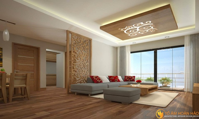 phòng khách sử dụng nội thất sàn gỗ