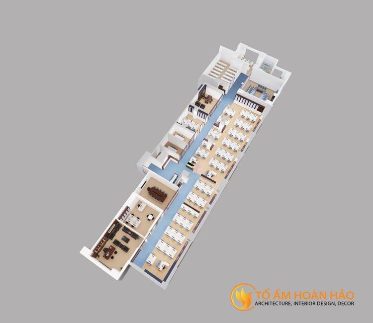 thiết kế thi công kiến trúc nội thất văn phòng Emico 1