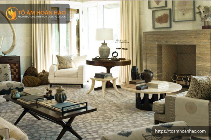 Thiết kế phòng khách nội thất phong cách âu mỹ 2