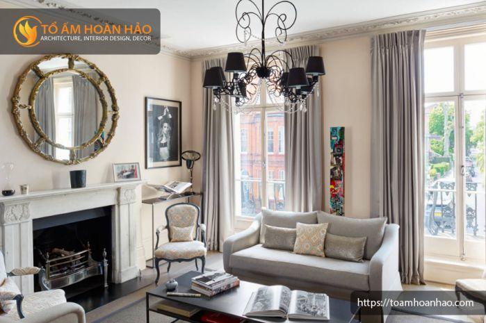nội thất phong cách Pháp kết hợp với họa tiết thô mộc